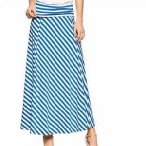 GAP Blue and White Striped Maxi Skirt